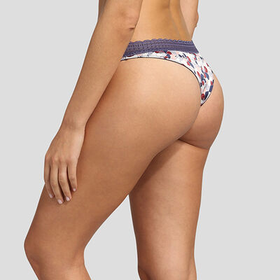 Dim Satin Line satin and lace thong in floral print, , DIM