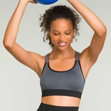 Sports bra with removable padding for women Grey Dim Sport, , DIM