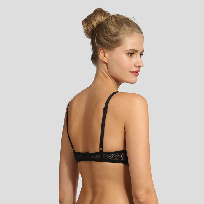 Sujetador triangular push-up de encaje negro Résille Chic Dim, , DIM