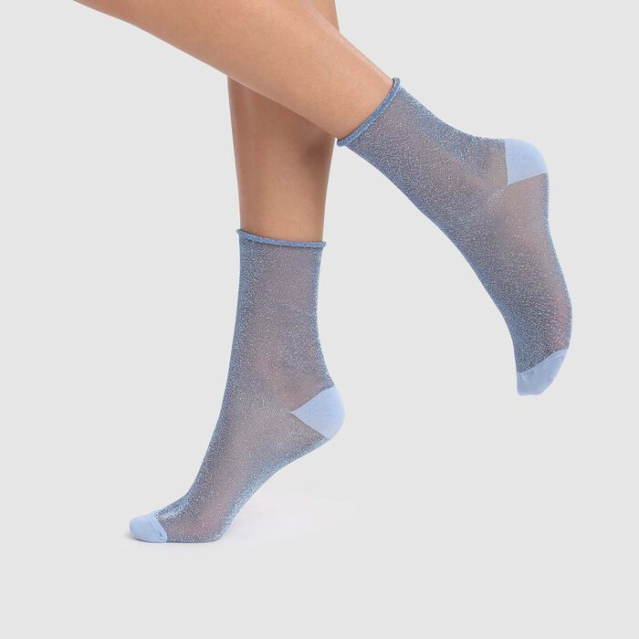 Women's socks in transparent lurex blue cashmere Dim Style, , DIM
