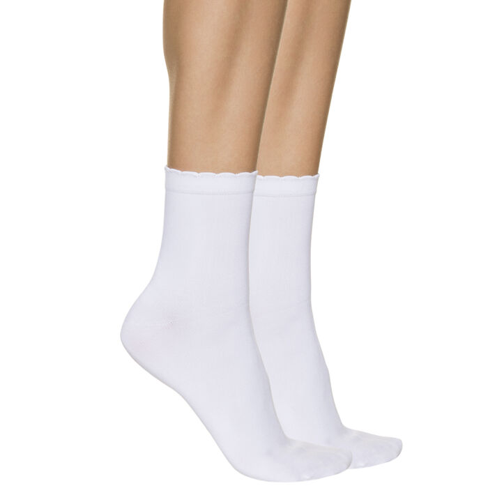 Pack of 2 pairs of women's second skin ankle socks in white, , DIM