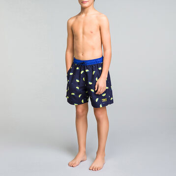 Dark swim shorts with lemon prints - Bain Citrons, , DIM