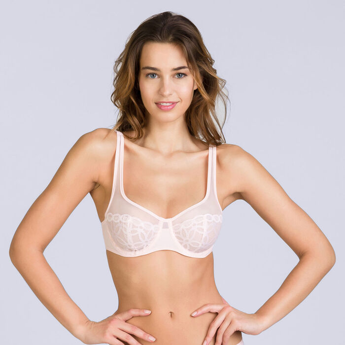 Lace pink underwired bra  - Generous MOD, , DIM