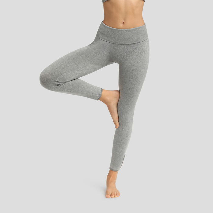 Seamless high waist leggings in mottled pebble grey Dim Sport, , DIM