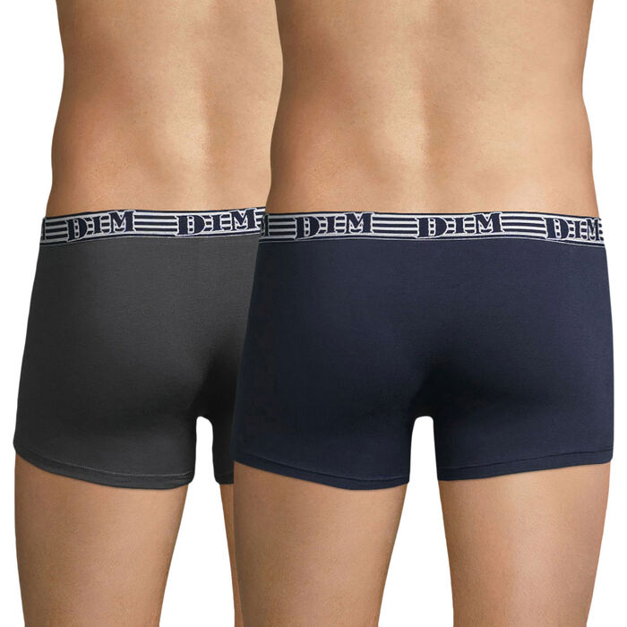 Lot de 2 boxers en coton stretch bleu et gris EcoDIM Mode, , DIM