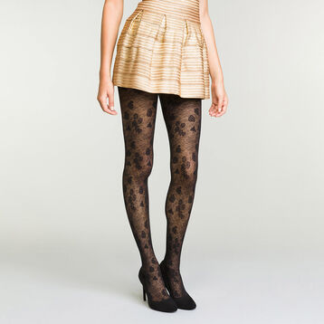 Women's semi-opaque black tights in floral lace, , DIM