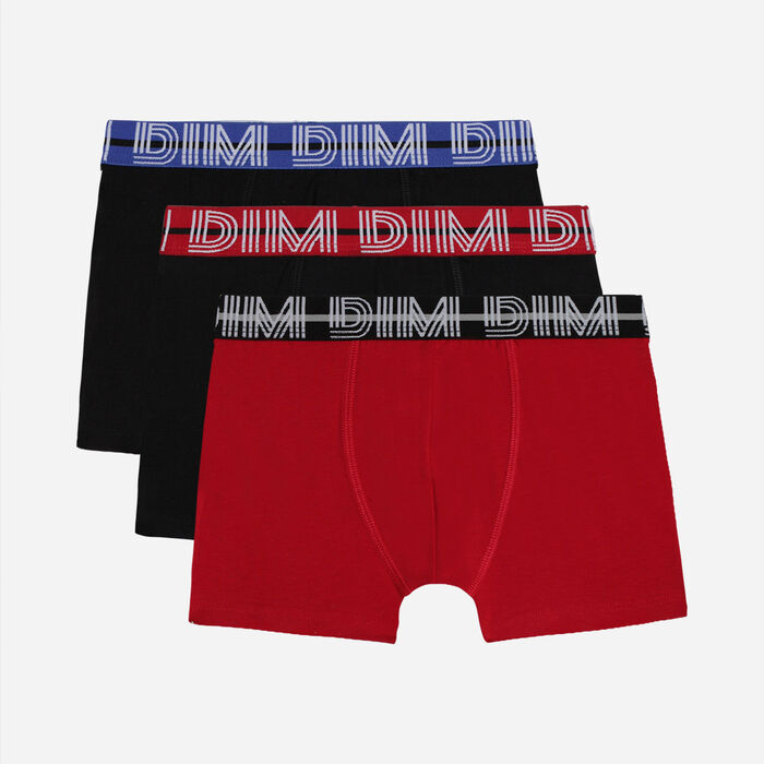 Pack of 3 Ecodim Ruby Contrast Waistband Stretch Cotton boxers for Boys, , DIM