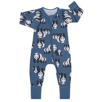 Blue Panda Print Cotton Stretch Zipped Pyjama Dim Baby, , DIM