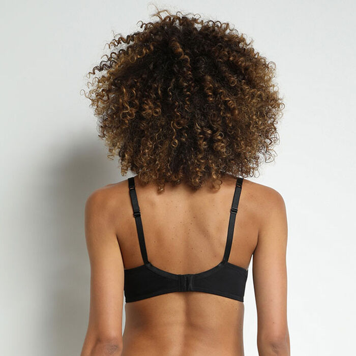 Jolie Madame Black microfiber and lace  bra, , DIM