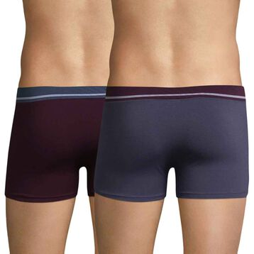 Set of 2 Soft Touch Classique storm blue and dark purple boxers - DIM