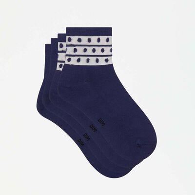 Skin Dots 2 pack microfiber ankle socks in petrol blue with mesh insert, , DIM