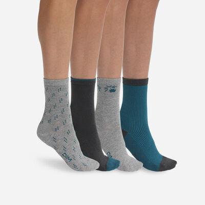 Комплект из 4 пар женских хлопковых носков Grey Lapis Lazuli Dim, , DIM