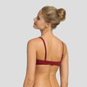 Non-wired red triangle bra in microfiber Reine de Cœur, , DIM