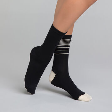 2 pack black socks with lurex - Dim Coton Style, , DIM