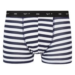 Blue trunks in cotton stretch with white stripes Agnes B, , DIM