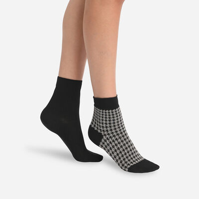 Dim Pack of 2 Pairs of Women's Houndstooth Black Modal Socks, , DIM