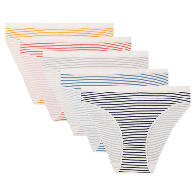 5 pack retro stripes print briefs Les Pockets Stretch Cotton, , DIM