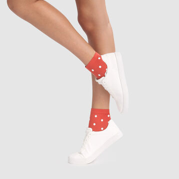 Fancy socks in apple red with retro polka dot print 40D Dim Style, , DIM