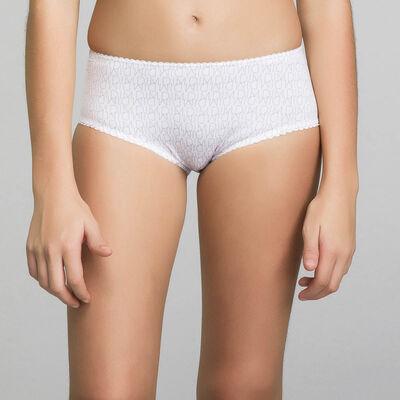 Трусики-шорты для девочки белого цвета с принтом в виде логотипа - Dim Touch, , DIM