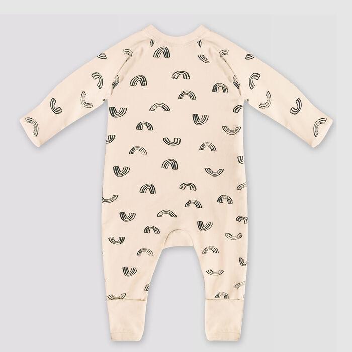 Pijama para bebé de cremallera de algodón bio vainilla estampado arco iris Dim Baby, , DIM