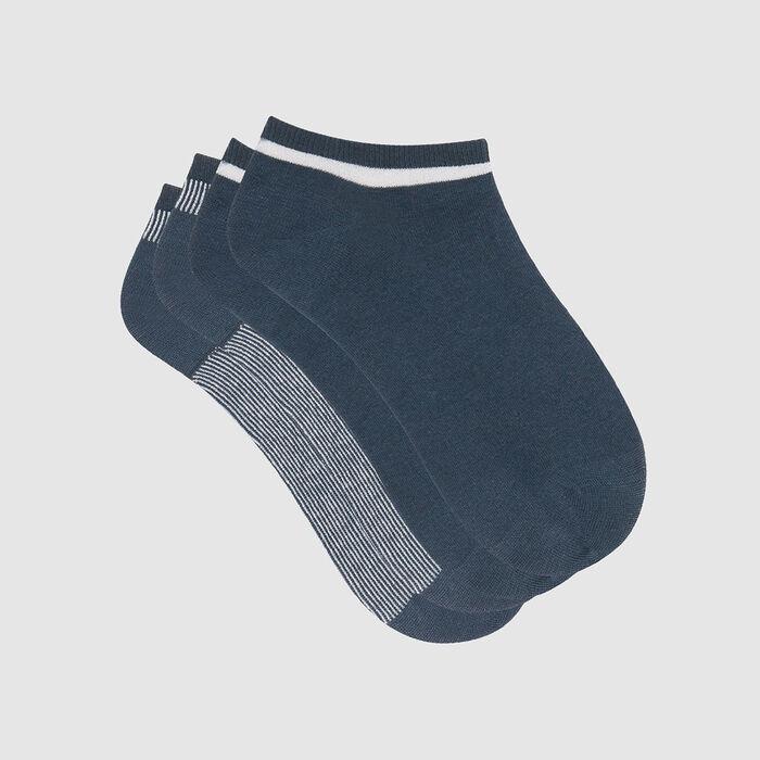 Lot de 2 paires de chaussettes basses Bleu Lurex Argent Coton Style, , DIM
