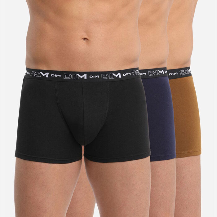 Pack of 3 men's Black Blue Denim Cotton Stretch boxers with graphics on waistband, , DIM