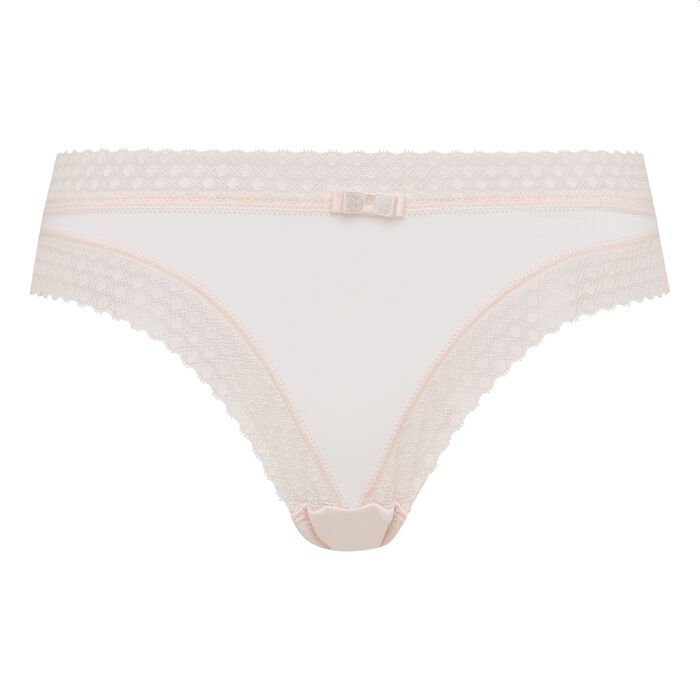 Dim Trendy Micro ballerina pink microfibre and lace briefs, , DIM