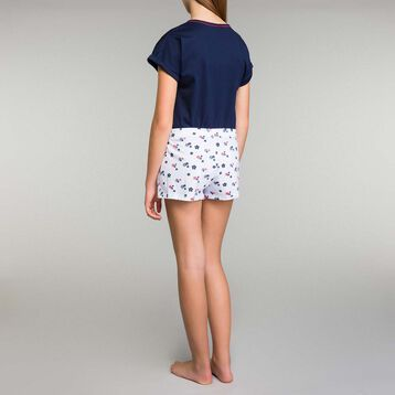 Blue pyjama set with floral printed shorts Dim Girl - Stripes, , DIM