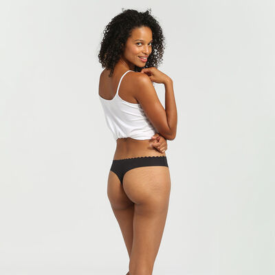 Body Touch Cotton pack of 2 stretch cotton thongs black/white, , DIM