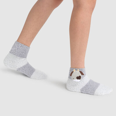 Non-slip cow's head 3D grey Kids Cocoon sock for kids, , DIM