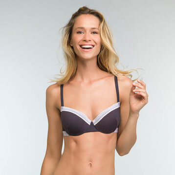 Padded Granite Grey balcony  bra in cotton Softly Line, , DIM