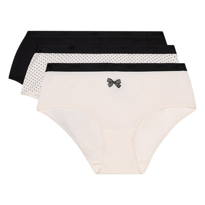 Pack of 3 pairs of Les Pockets cotton boyshorts with black bow, , DIM
