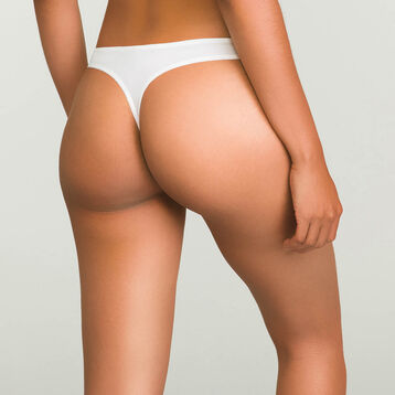 Women's white lace thong in microfiber Refined Lace, , DIM
