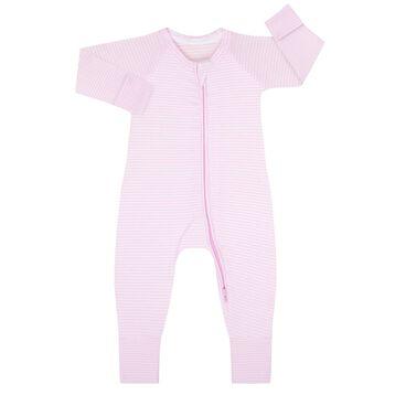 Pyjama zippé en Coton Stretch rayé Rose layette et blanc, , DIM