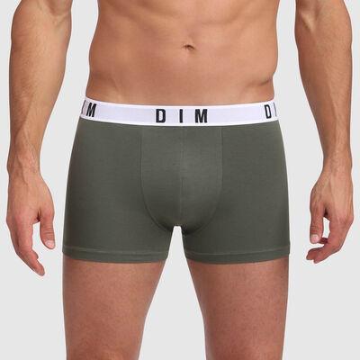 Boxer vert kaki en coton et modal à la ceinture kaki Dim Originals, , DIM