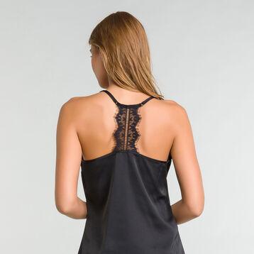 Caraco de pyjama en satin et dentelle noir - Glamour, , DIM