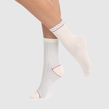 Cotton Style 2 pack  cotton socks in ivory with plumetis embroidery, , DIM
