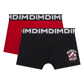 Lot de 2 boxers garçon noir et rouge inscription Hawai - Box Hawai, , DIM