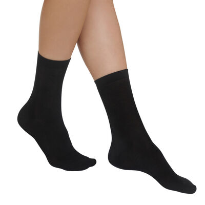Pack of 2 pairs of black Light Coton socks for women, , DIM