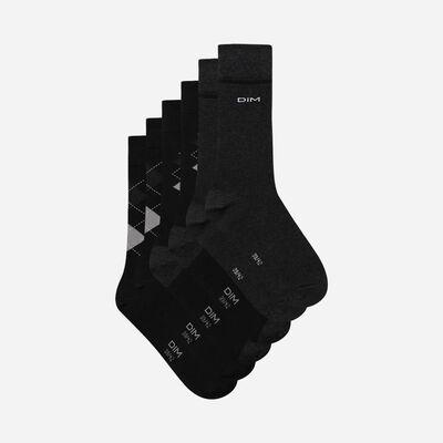 Pack of 3 Pairs of Men's  Black Cotton Style  Tartan Socks, , DIM