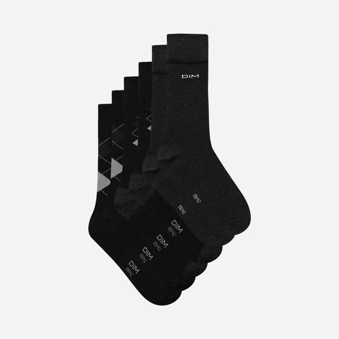 Комплект из 3 пар мужских носков в клетку Black Cotton Style, , DIM
