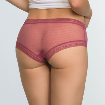 2 pack Sexy Transparency cotton and lace shortys in Brown and Red, , DIM