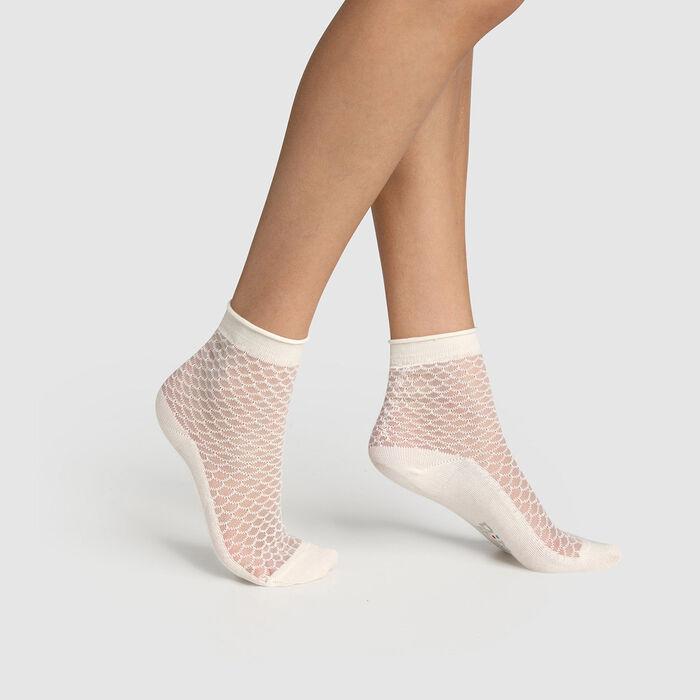 Socquette femme coton motif écaille transparent Ivoire Made in France, , DIM