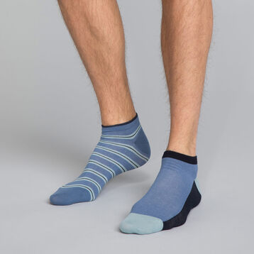 2-pack ink blue low cut Men's socks, , DIM