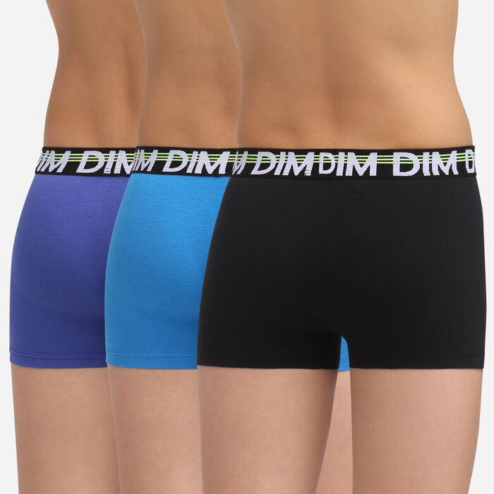 3 pack black stretch cotton trunks Dim Boy Dim Promo Eco, , DIM