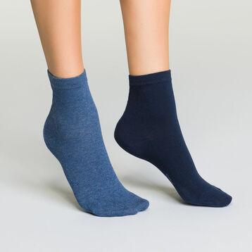 Lot de socquettes Bleu Marine et Bleu Jean pour femme Basic Coton, , DIM