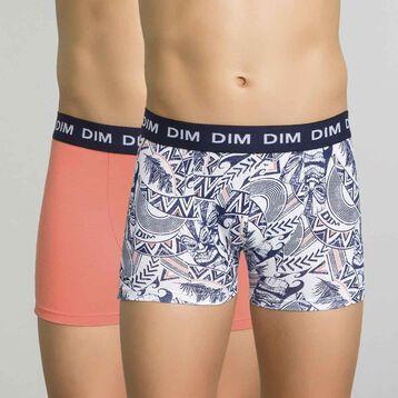 2 pack salmon and printed blue trunks - Box Hawaï, , DIM
