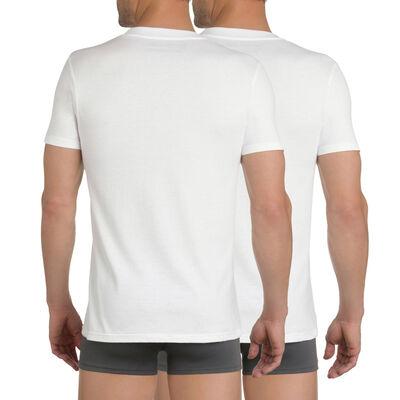 Комплект из 2 белых футболок EcoDIM с круглым вырезом из 100% хлопка, , DIM