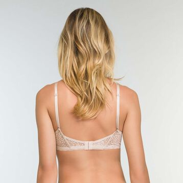 Push-Up Triangle Bra in Light Beige Lace Daily Glam Trendy Sexy, , DIM