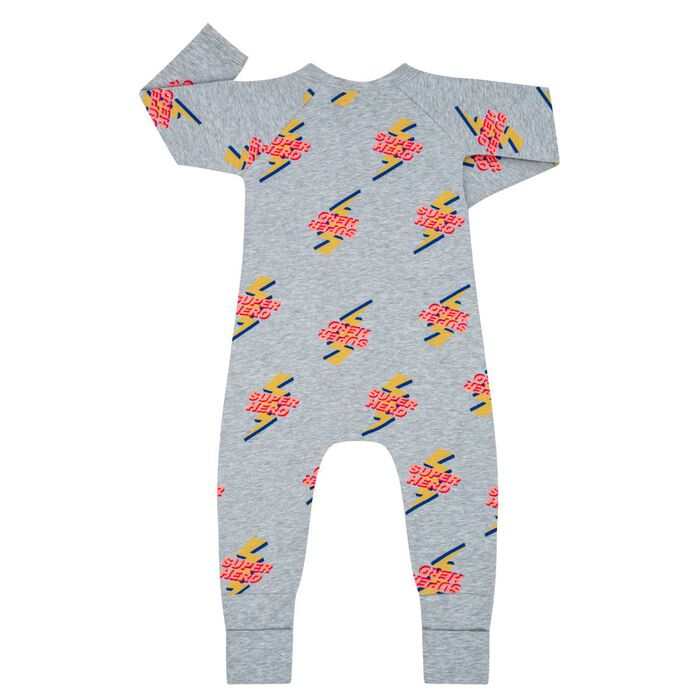Super Hero Print  Zipped Pyjama in Cotton Stretch Dim Baby, , DIM
